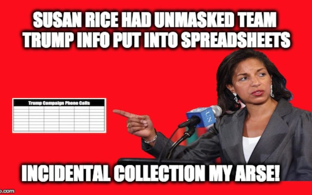 Susan Rice Ordered Detailed Spreadsheets On Unmasked Trump/Aide's Phone Calls