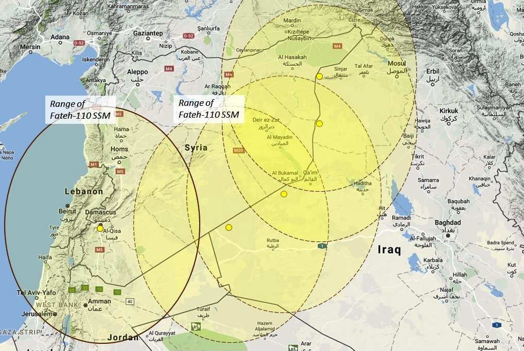 Syria already has Iran's Fateh-110 SSM. This map depicts how Iran could deploy it to affect the ground fight in eastern Syria, using launch positions over the border in Iraq. (Google map; author annotation)