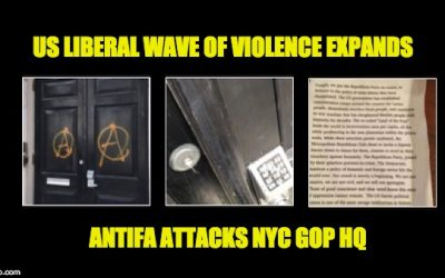 Liberal Violence of The Day: Antifa Vandalizes NYC GOP HQ