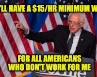 Sanders' Staff Is Feeling Berned: No $15 Per Hour Minimum Wage For Them