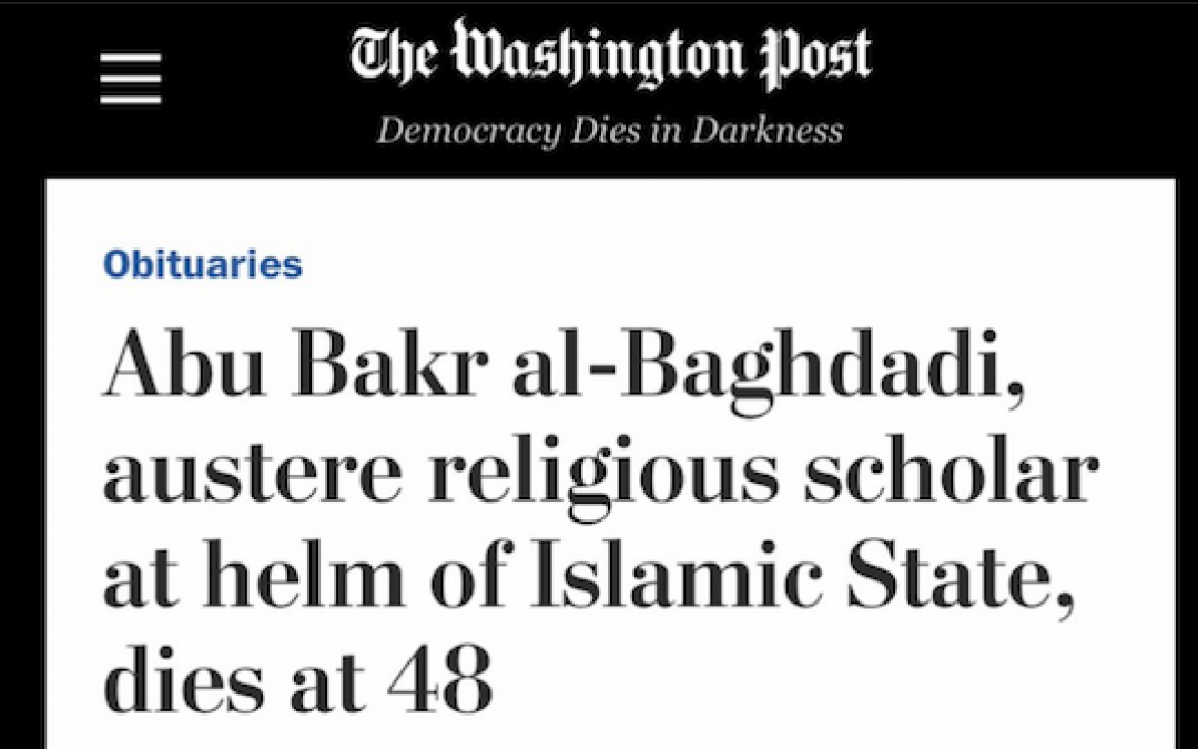 WAPO Publishes Fawning al Baghdadi Headline-Gets Slapped Around On Twitter