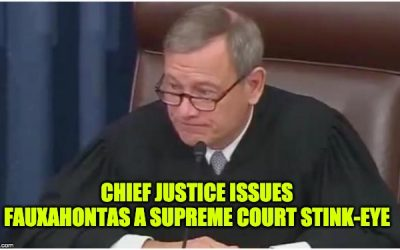 WATCH: Chief Justice Roberts GLARES At Fauxahontas After Ridiculous Impeachment Question