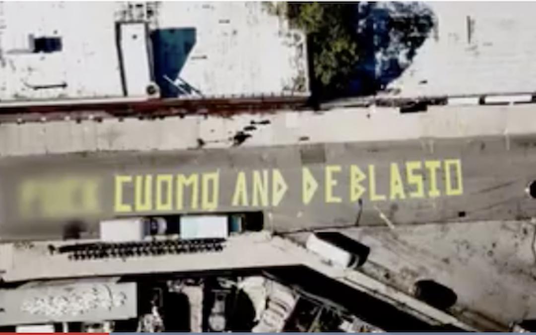 'F**k Cuomo And DeBlasio' Giant Mural Painted On Brooklyn Street (VIDEO)