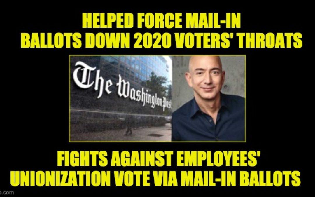 Hypocritical Jeff Bezos Demands Amazon's Unionizing Vote Be In-Person NOT Via Mail