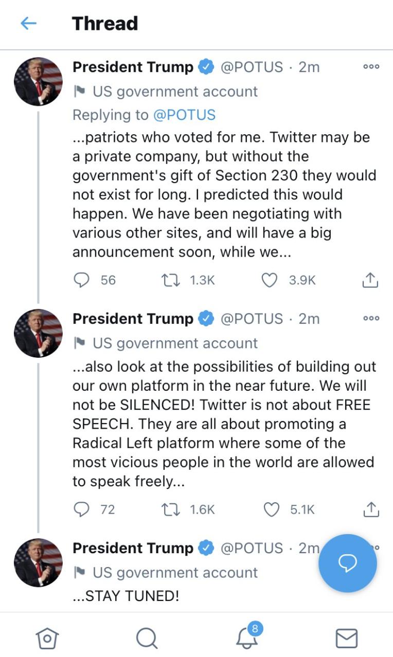 Trump launch own platform