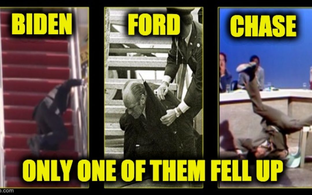 Someone Call Chevy Chase! Biden Falls Multiple Times Climbing UP Air Force One Stairs (Videos)