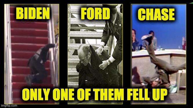 Biden falls up stairs