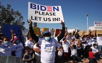 Large Group Of Illegal Aliens Arrive At Border Wearing Brand-New 'Biden, Please Let Us In' T-Shirts