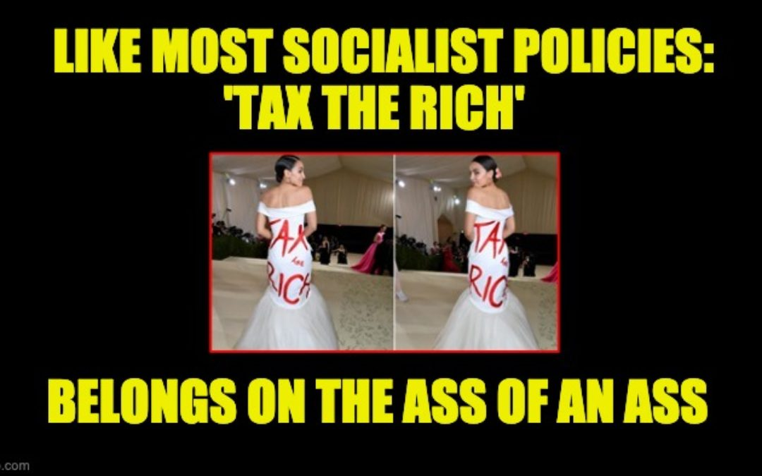 HYPOCRITE! Maskless AOC Wears Tax The Rich Gown To $30,000 Per Ticket Met Gala