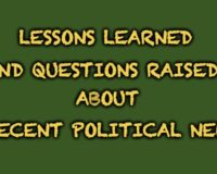 Important Learning And Questions Generated From Recent Political News