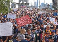 Brooklyn Bridge Shut Down by Anti-Vax Mandate First Responders' Protest